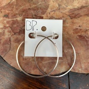 BP Silver Hoop Earrings